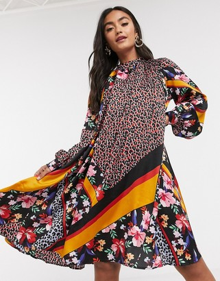 Liquorish balloon sleeve swing dress in scarf print