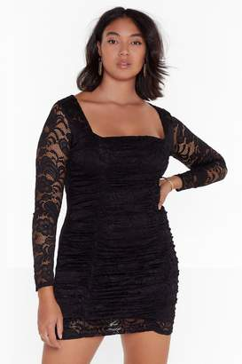 Nasty Gal Womens Set the Lace Plus Mini Dress - black - 22