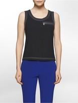 Calvin Klein Platinum Contrast-Stitch Stretch Crepe Top