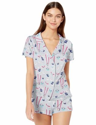 Munki Munki Women's Nite Jersey Notch Collar PJ Sleeve and Short Set