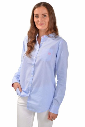 White Label Crew Clothing Womens Blue Chambray A Line Shirt Grandad Collar Relaxed Fit Size 8