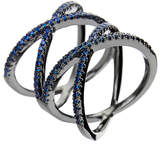 Noir Roseberry Gunmetal-Tone Blue Crystal Ring