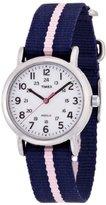 "Timex Women's T2P0749J ""Weekender"" Blue and Pink Stripe Nylon Strap Watch"
