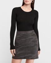 Express High Waisted Camo Mid-Thigh Denim Skirt