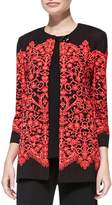 Misook Lace-Print Long Jacket