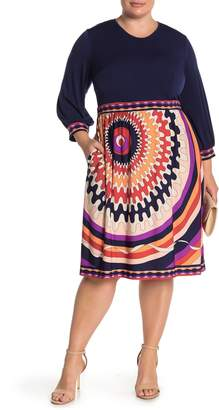 Donna Morgan Geo Print 3/4 Sleeve Jersey Dress (Plus Size)