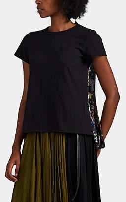 Sacai Women's Jackson Pollock Mixed-Media T-Shirt - Black Pat.