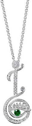 Tabayer Eye 18K White Gold, Emerald & Diamond Inspiring Pendant Necklace