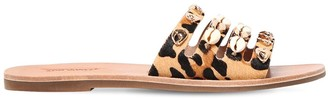 Ioannis 10mm Shell Leopard Print Leather Sandals