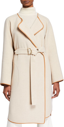 Chloé Double-Face Wool & Cashmere Belted Kimono Coat