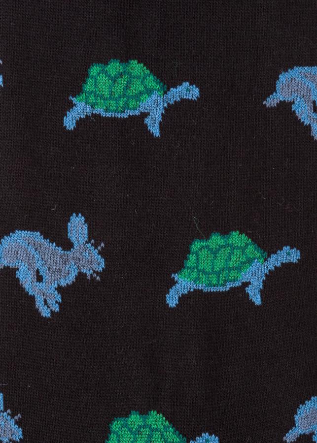Thumbnail for your product : Paul Smith Men's Black 'Hare & Tortoise' Pattern Socks