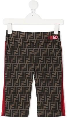 Fendi Kids Zucca print stripe shorts