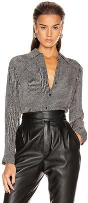 L'Agence Nina Long Sleeve Blouse in Black & Almondine | FWRD