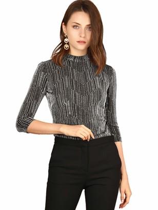 Allegra K Women's Party Glitter 3/4 Sleeve Shiny Striped Metallic Tops L Gold Black