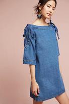 J.o.a. Denim Open-Shoulder Shift Dress