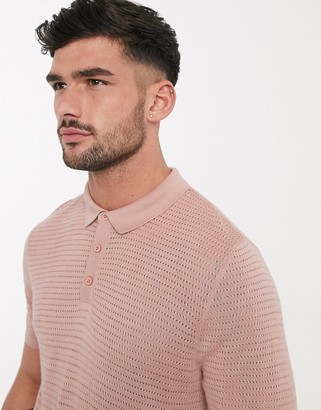 Topman knitted polo in pink