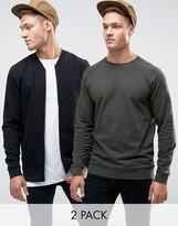 Asos Jersey Bomber Jacket/sweatshirt 2 Pack Khaki/black Save