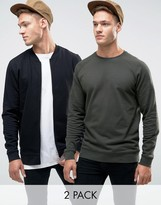 Asos Jersey Bomber Jacket/Sweatshirt 2 Pack Khaki/Black
