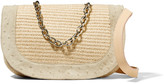 M Missoni Paneled leather, straw and ostrich-effect suede shoulder bag