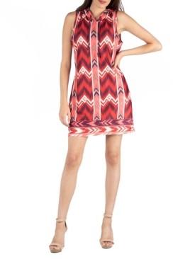 24seven Comfort Apparel Hooded Geometric Pattern Mini Dress