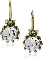 Betsey Johnson Round Crystal with Bow Drop Earrings