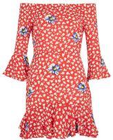 Topshop Floral frill bardot dress