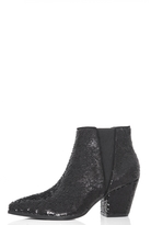 Quiz Black Sequin Pointed Ankle Boots