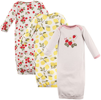 Hudson Baby Girls' Infant Gowns Strawberry/Lemon - Red & Yellow Strawberry Lemon Gown Set - Newborn