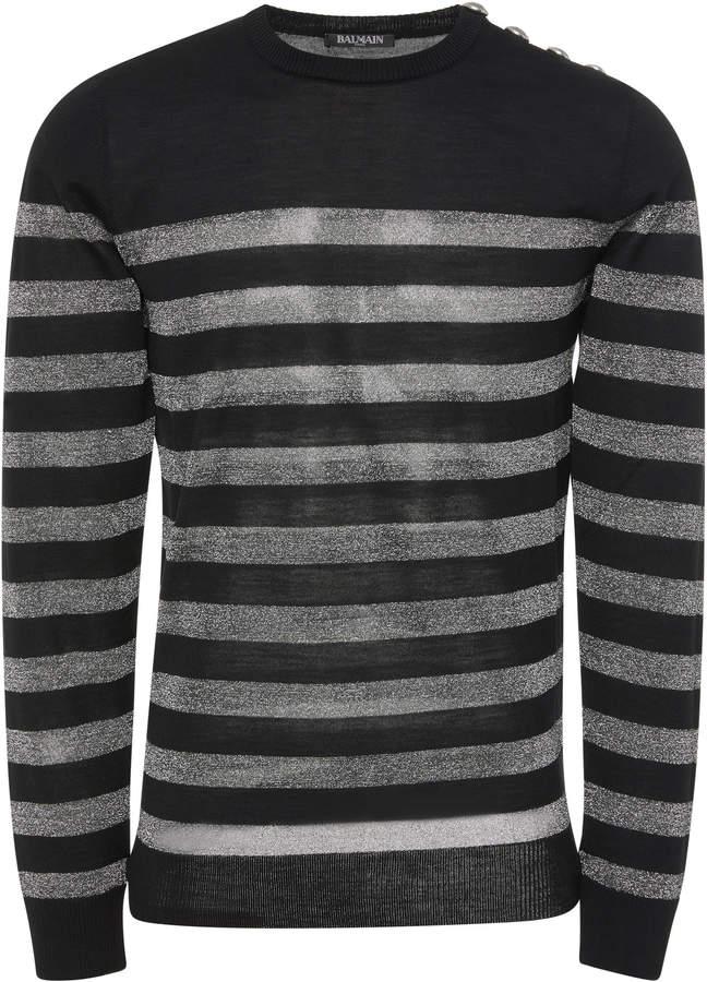 Balmain Striped Wool-Blend Sweater