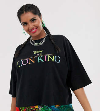 Asos Disney The Lion King x DESIGN Curve oversized cropped t-shirt with rainbow logo-Black