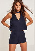 Missguided Navy Silky Double Layer Choker Romper