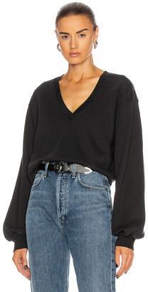 AGOLDE V Neck Balloon Sleeve Sweatshirt in Black | FWRD