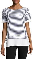 Marc New York Performance Short Sleeve 2-Fer Stripe T Shirt