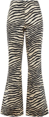 By Malene Birger Zebra-print Stretch-cotton Poplin Flared Pants