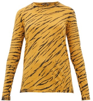 Proenza Schouler Tiger-print Long-sleeved Cotton T-shirt - Black Multi