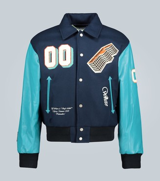 Off-White Leather-sleeved varsity jacket