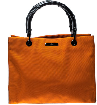 Gucci Orange Nylon Bamboo Top Handle Tote
