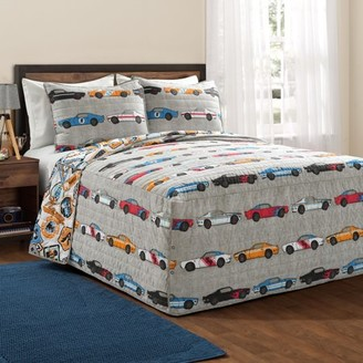 Lush Decor Reversible Race Cars Bedspread Set, Multiple Colors
