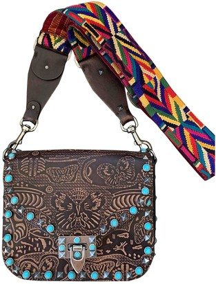 Valentino Guitar Rockstud Brown Leather Handbags