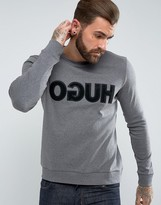 HUGO by Hugo Boss Dicagor Reverse Logo Crew Neck Sweat in Gray