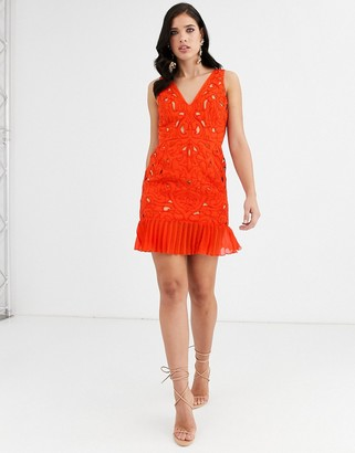 Asos Design DESIGN mini dress in cutwork embroidery with pleated hem