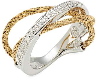 Alor 18K White Gold & Goldtone Diamond Twist Ring