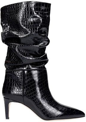 Paris Texas High Heels Ankle Boots In Black Leather