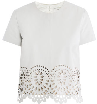 Lover Laser-cut leather T-shirt