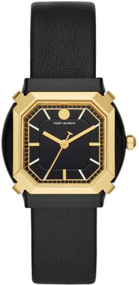 Tory Burch Blake Watch, Black Leather/Gold, 35 MM
