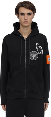 Burberry Logo Patch Zip-up Cotton Jersey Hoodie