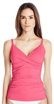 Calvin Klein Women's Twist Tankini with Sewn In Soft Cups and Tummy Control