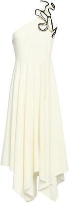 Halston One-shoulder Ruffled Stretch-crepe Midi Dress