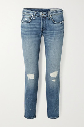 Rag & Bone Dre Cropped Low-rise Slim Boyfriend Jeans - Mid denim