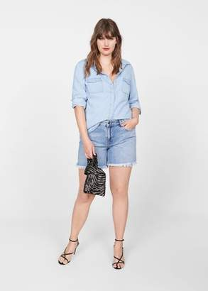 MANGO Violeta BY Chest-pocket denim shirt bleach blue - 10 - Plus sizes